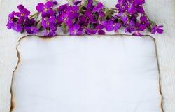 P? vita tr?br?den br?nde ett vitt ark av papper p? kanterna och purpurf?rgade blommor som l?mnar rum f?r text royaltyfri bild