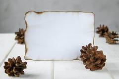 P? vita tr?br?den ett ark av papper som br?nns l?ngs kanterna, skogkottar runt om kanterna L?mna utrymme f?r text arkivfoton
