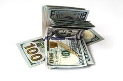 $ 100 på viten tillbaka grundar och plånbokbilder, Royaltyfria Bilder