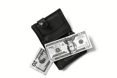 $ 100 på viten tillbaka grundar och plånbokbilder, Royaltyfri Bild