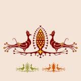 Påfågel och exotisk frukt royaltyfri illustrationer