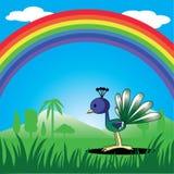 Påfågel och tropisk regnbåge Royaltyfri Illustrationer