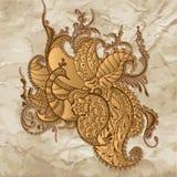 Påfågel på den gamla pappers- bakgrunden stock illustrationer