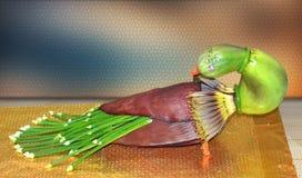 Påfågel som göras, av gjort av grönsaken, pumpa, banan arkivfoton