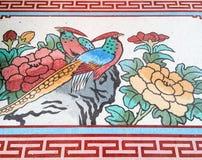 Påfågelmålning i traditionell kinesisk stil Royaltyfri Foto