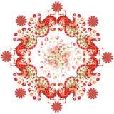 Påfåglar och blommor på vit bakgrund också vektor för coreldrawillustration royaltyfri illustrationer