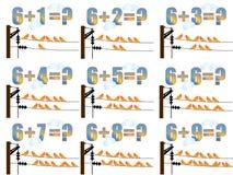 påfyllande lärande math 6 royaltyfri illustrationer