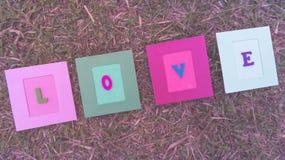 Pålagt gräs för förälskelsekort fotografering för bildbyråer