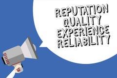 Pålitlighet för erfarenhet för anseende för handskrifttexthandstil kvalitets- För kundtillfredsställelse för begrepp menande inne royaltyfri illustrationer