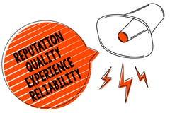 Pålitlighet för erfarenhet för anseende för handskrifttexthandstil kvalitets- För kundtillfredsställelse för begrepp menande mega royaltyfri illustrationer