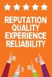 Pålitlighet för erfarenhet för anseende för ordhandstiltext kvalitets- Affärsidé för kvinnor han för män för service för goda för royaltyfri illustrationer