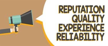 Pålitlighet för erfarenhet för anseende för ordhandstiltext kvalitets- Affärsidé för mannen för service för goda för kundtillfred vektor illustrationer