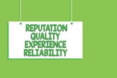 Pålitlighet för erfarenhet för handskrifttextanseende kvalitets- För kundtillfredsställelse för begrepp messa för bräde för menan vektor illustrationer