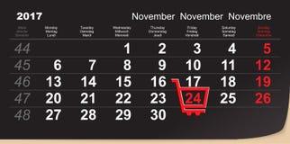 Påminnelse för Black Friday shoppingspårvagn 24 November 2017 kalenderdag av stora köp royaltyfri illustrationer