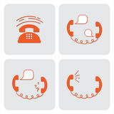 Påringningvektorsymbol Uppsättning av fyra illustrationer med telefoner, telefonlurar och bubblor Royaltyfri Bild
