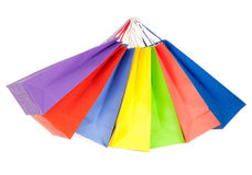 påsar färgade set shopping för papper Arkivfoto