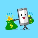 Påsar för pengar för tecknad filmsmartphone bärande Arkivbild