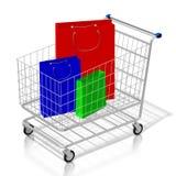 påsar för shopping för vagn för shopping 3D royaltyfri illustrationer
