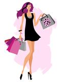 påsar som shoppar kvinnan Fotografering för Bildbyråer