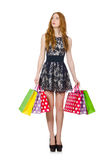 påsar som shoppar kvinnan Arkivfoto