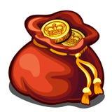 Påse av guld- mynt, rikedomsymbol, vektorsymbol royaltyfri illustrationer