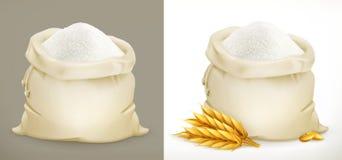 Påse av mjöl och vete vektor 3d vektor illustrationer