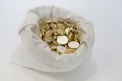 Påse av mynt på en vit bakgrund Royaltyfria Foton