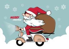 Påse för gåvor för jultomtenjulvespa Vektor Illustrationer