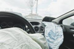 Påse för luft för bilkrasch, blått, inskriftairbag arkivfoto
