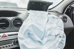 Påse för luft för bilkrasch, blått, inskriftairbag Arkivfoton