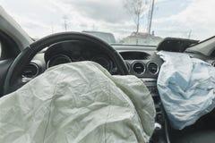 Påse för luft för bilkrasch, blått, inskriftairbag Arkivbild