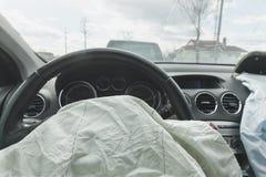 Påse för luft för bilkrasch, blått, inskriftairbag royaltyfri foto
