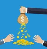 Påse för pengar för affärsmanhand hållande royaltyfri illustrationer