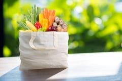 Påse för shopping för Eco dagbruk med grönsaklivsmedelsbutikshopping i sup Royaltyfri Fotografi