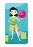 Påse för shopping för visning för shoppingförsäljningsflicka med etiketten vektor illustrationer