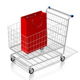 påse för shopping för vagn för shopping 3D royaltyfri illustrationer