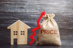 Påse med pengarna och ordpriset och upp pil och trähus Förhöjningen i huspriser Stigning i avgifter för royaltyfria foton