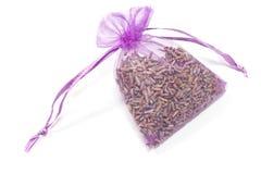 Påse med torra lavendelblommor Arkivfoto