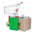 påseaskar cart shopping Royaltyfri Foto