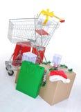 påseaskar cart shopping Royaltyfria Bilder