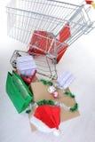 påseaskar cart shopping Royaltyfri Bild