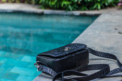 Påsemodetrender Slut upp av den ursnygga stilfulla snakeskinpytonormpåsen Lyxig handväskacloseup royaltyfri fotografi