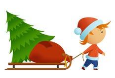 påsen bär intelligens för tree för lilla män för jul nat stock illustrationer