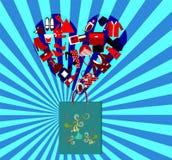 Påsepaket för att shoppa på blå bakgrund Royaltyfri Bild