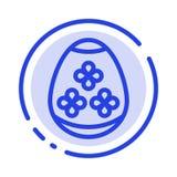 Påskägg, ägg, ferie, blå prickig linje linje symbol för ferier stock illustrationer