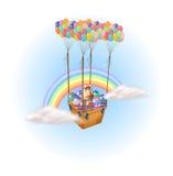 Påskägg bar vid en grupp av ballonger för varm luft Royaltyfria Bilder