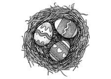 Påskägg, fågelrede, illustration, teckning, gravyr Royaltyfri Illustrationer