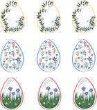 Påskägg för ferien som dekoreras med blommor stock illustrationer