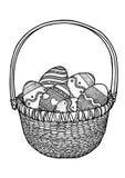 Påskägg i en korgillustration, teckning, gravyr Vektor Illustrationer