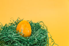 Påskägg i ett easter rede som göras av grönt gräs och gulingbakgrund Arkivfoton